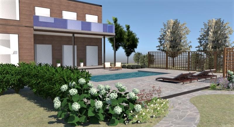 Trädgård med pool